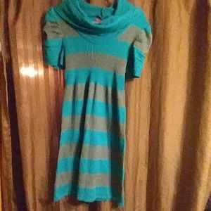 Teal and gray striped sweater dress made by takeo